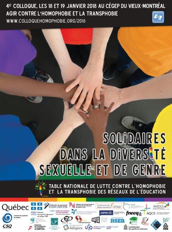 <b>4e colloque: Agir pour contrer l'homophobie et la transphobie les 18 et 19 janvier 2018</b>