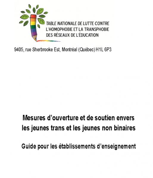 <b>Nouveau guide «Mesures d'ouverture et de soutien envers les jeunes trans et les jeunes non binaires»</b>